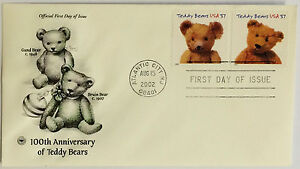 10-USPS-PCS-Anniversary-Teddy-Bears-2002-37c-Stamp-FDC-3654-First-Day-Issue-NEW