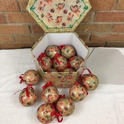 Paper Mache Christmas Ornament.Vtg Set Of Paper Mache Christmas Ornaments Angels Cherubs 3 Balls In Box Ebay