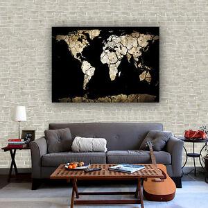 Fabric Canvas Poster Vintage World War Distribution Map Bar Cafe Wall Decor S37