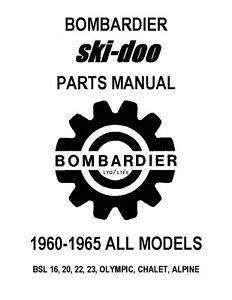 Ski Doo Parts >> Bombardier Ski Doo Parts Manual 1963 Bsl 16 20 22 23 Olympic