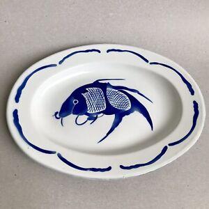 VTG-BUMPER-HARVEST-Enamelware-Serving-Platter-FISH-Blue-White-Enamel-Tray-35-cm