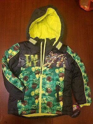 Boys TEENAGE MUTANT NINJA TURTLE Winter COAT~size 4~NWT~LINED Hooded Jacket TMNT