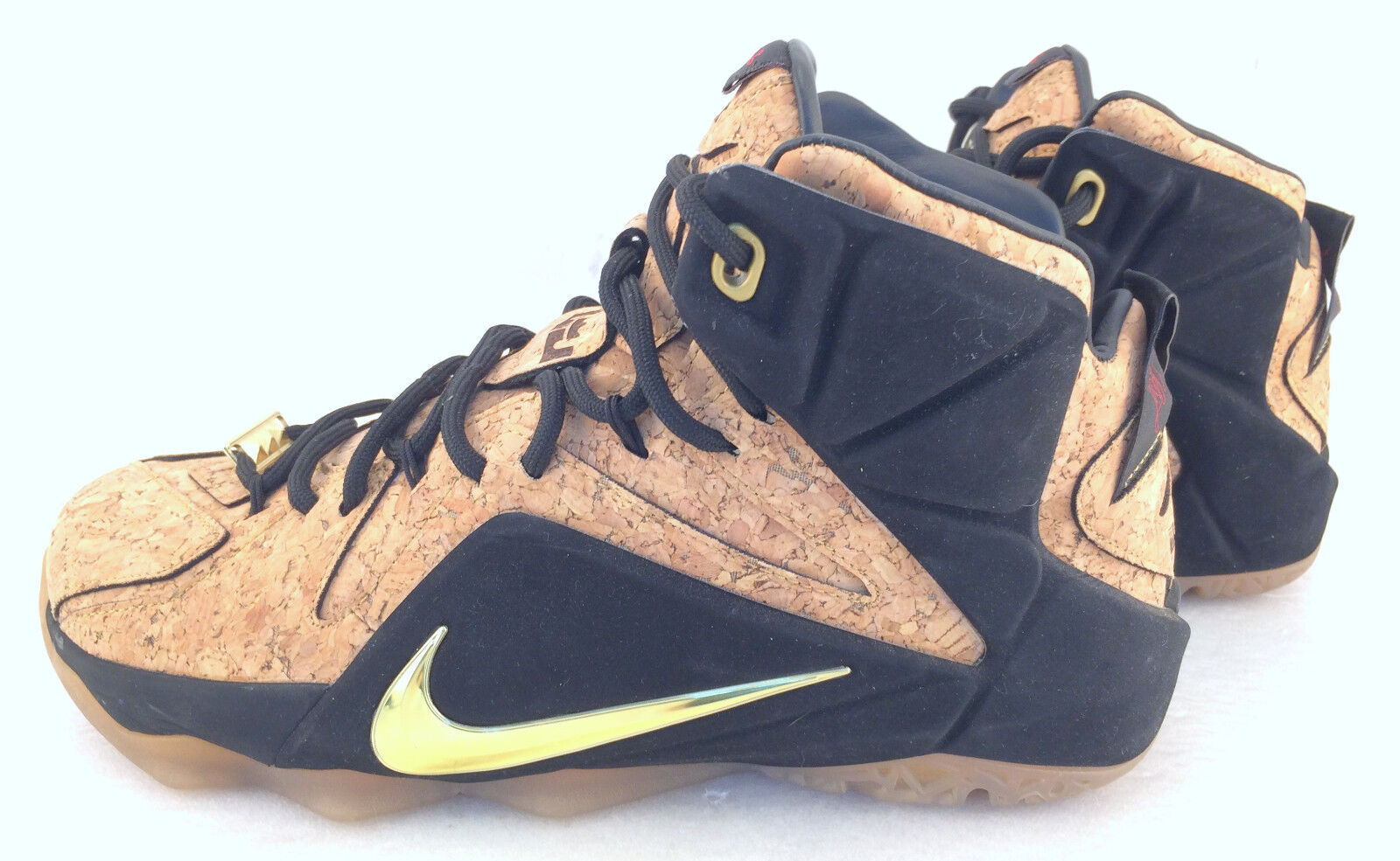 Nike Lebron XII EXT Cork Natural Black Mettalic Gold 768829 100 Size 8.5