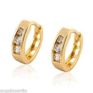 18K-Yellow-Gold-Filled-CZ-Huggie-Earrings-E-354