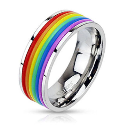 Rainbow Rubber Stripped Stainless Steel Band Ring!