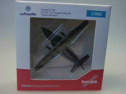 """Herpa Wings Transall C-160 Luftwaffe LTG 62 /""""Flyout Wunstorf/"""" 529525-1//500"""