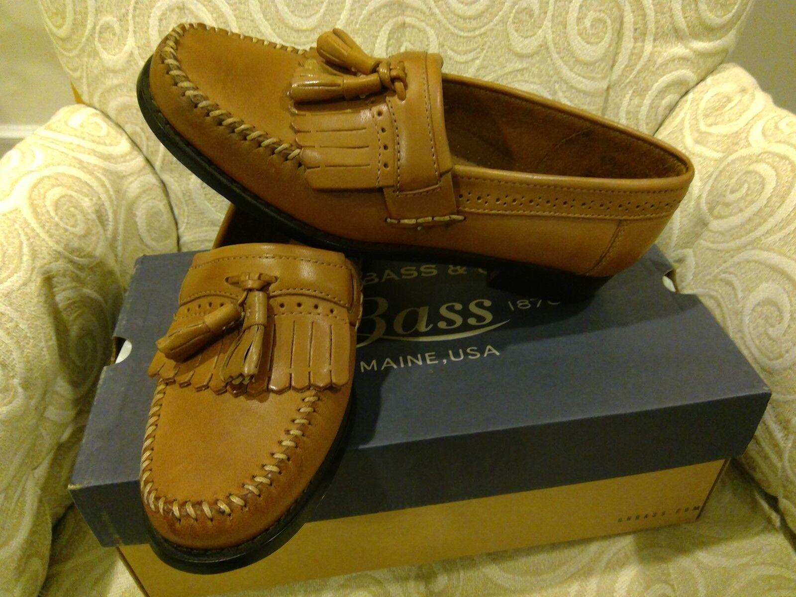 G.H BasS Mens Jeremy Leather Tassel Loafers   1820 TAN Mens Sz 7.5D  US