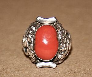 Large Tibetan Saddle Ring with Coral
