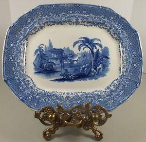 Antique-Rectangular-Transferware-Platter-Signed-Florentine-China-Abbeville