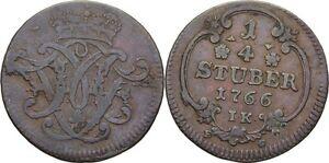 Kleinmünzen & Teilstücke Krone #cx72 FüR Schnellen Versand 1/4 Stüber 1766 Erzbistum Köln Maximilian Friedrich Von Königseck Münzen