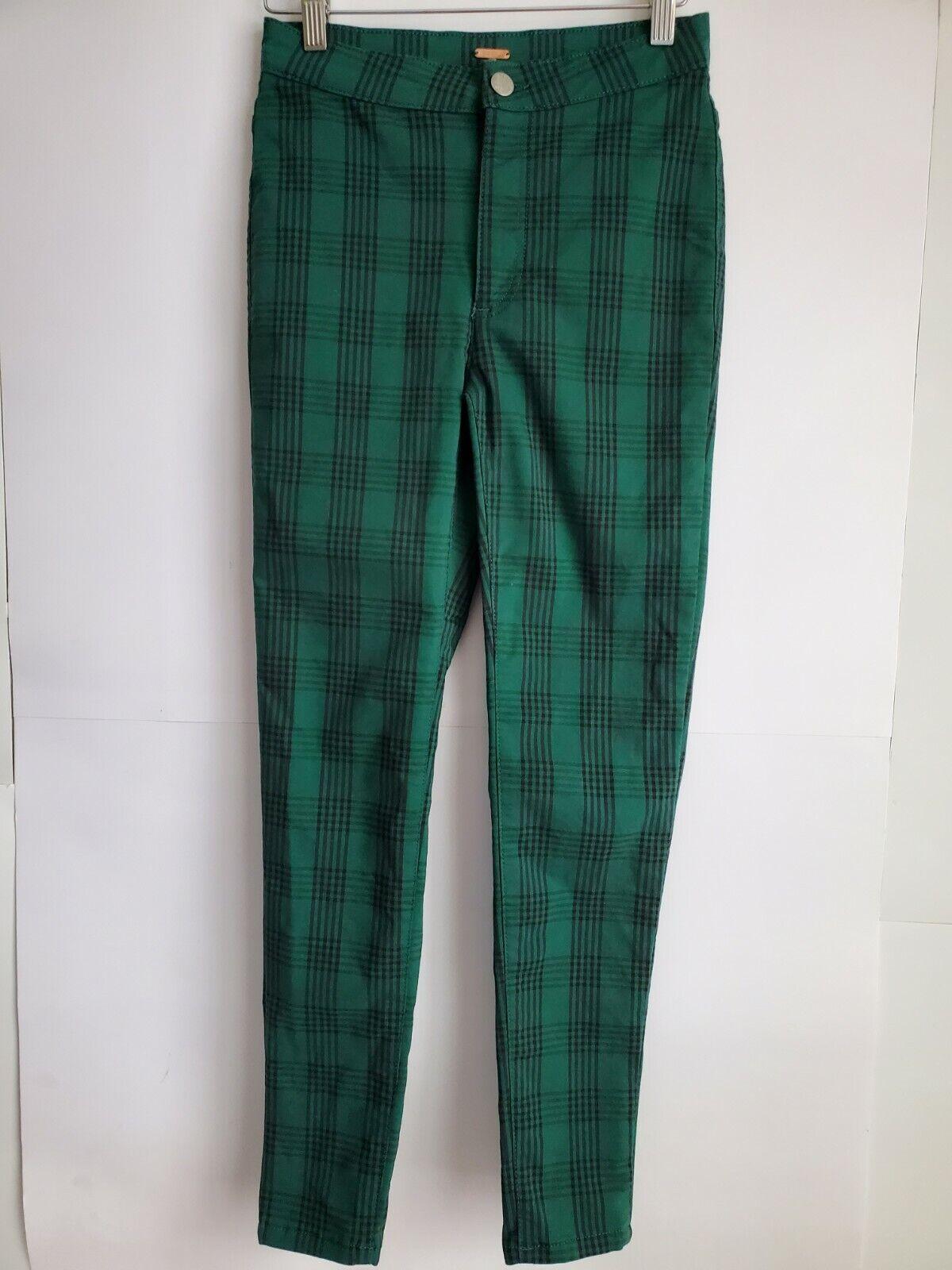 Free People  Women's Green Plaid Skinny Pants, Si… - image 4