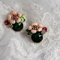 Costume Fashion Earrings Studs Enamel Flower Leave Green Pink Baroque Vintage L1