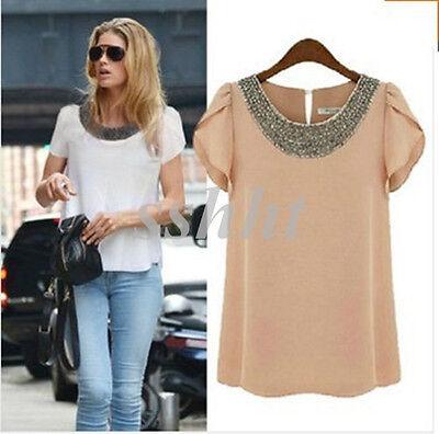 New Fashion Women Chiffon Short Sleeve T Shirt Casual Tops Ladies' Beads Blouse