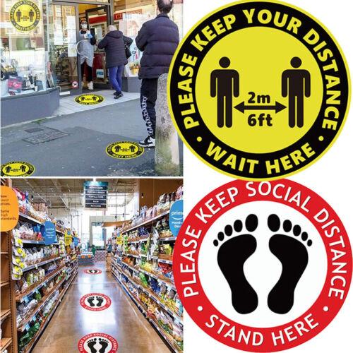 1-100X Safety Distancing Floor Stickers Please Keep 6 Feet Away Window Decals UK
