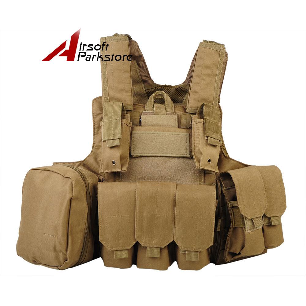Airsoft CHALECO MOLLE Militar Táctica Chaleco Portador de Placa Asalto Combate Sistema Bronceado