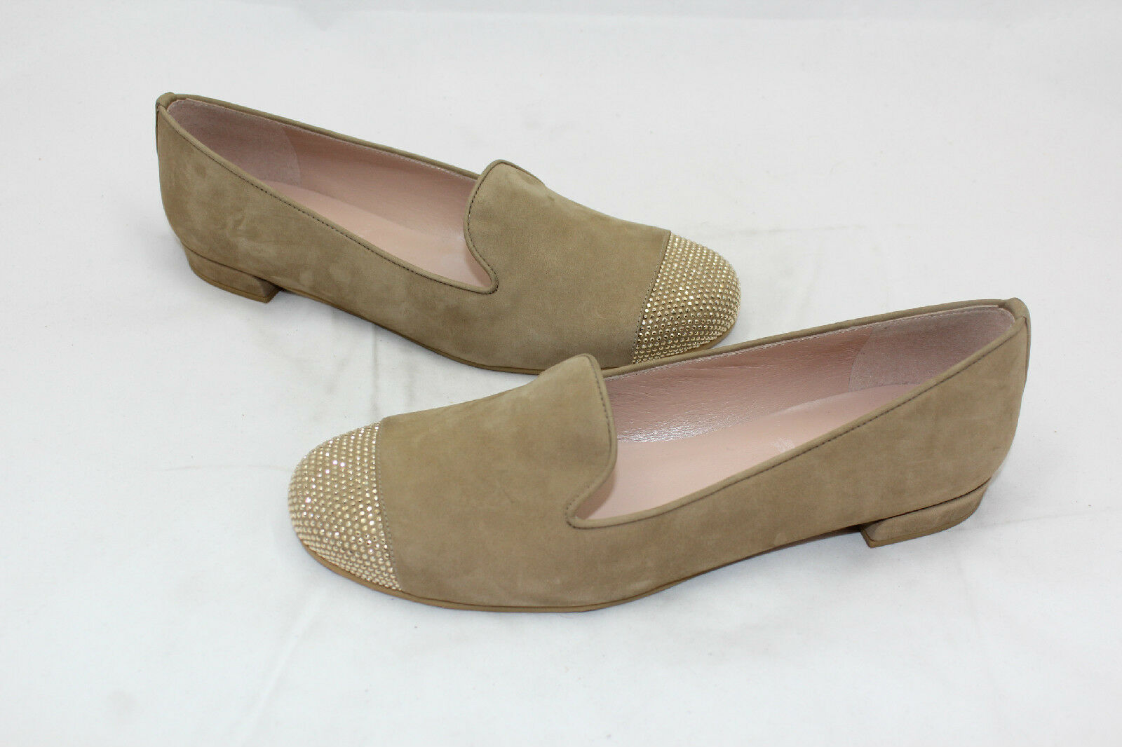 Stuart Tan Weitzman Suede Lingo Loafer Oxford Flats Beige Tan Stuart Metallic Gold Studs 8 6abc69