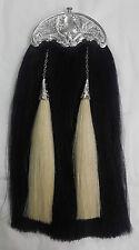 Kilt Sporran Black Hose Hair Thistle Cantle Black Finish/Original Hair Sporrans
