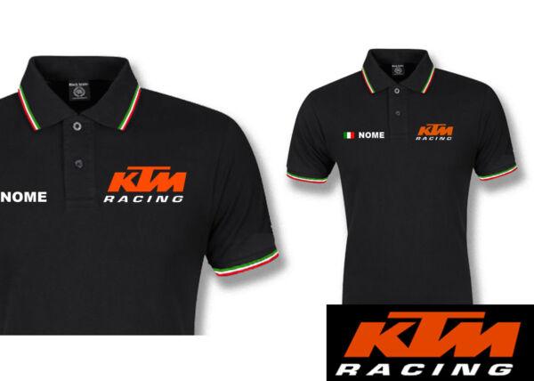 Aspirante Polo Ktm Racing Cotone Tricolore Italia Maglietta Moto Corse