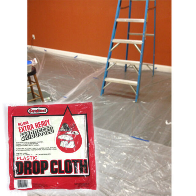 9/' X 12/' CLEAR PLASTIC TARP .8 MIL POLY ROLL PAINT DROP CLOTH 1 2 3 or 4 Pack