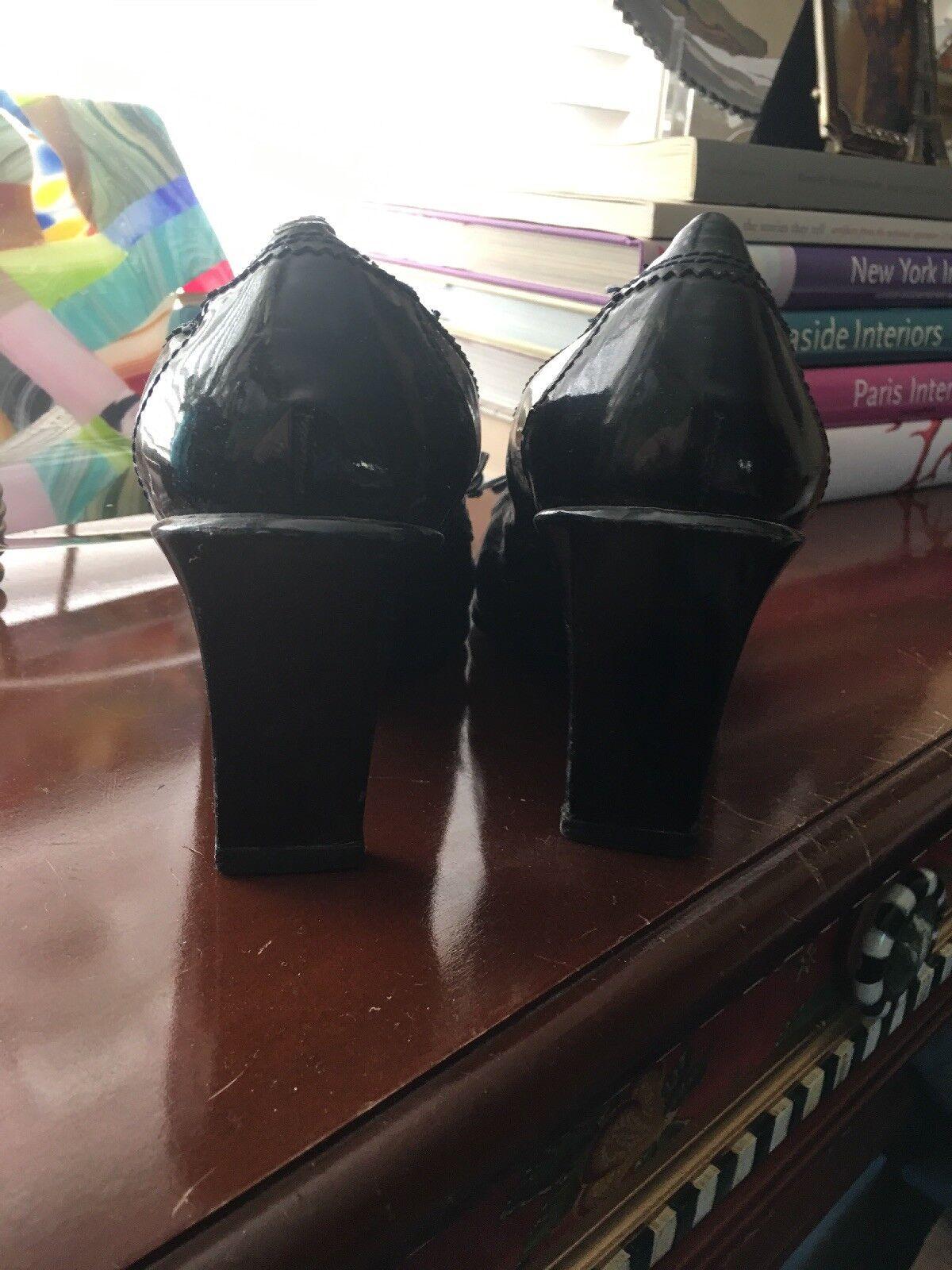 Vintage Giorgio Zapatos Armani Zapatos 39.5 8.5 9 Negro Tacones Zapatos Giorgio De Salón Charol M 072eb1