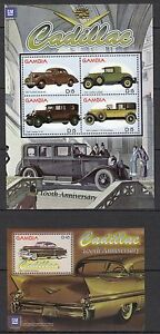 H91-Cars-Voitures-50th-ANNIVERSARY-CABILLAC-2-Blocs-GAMBIA-Timbres-Neufs-MNH