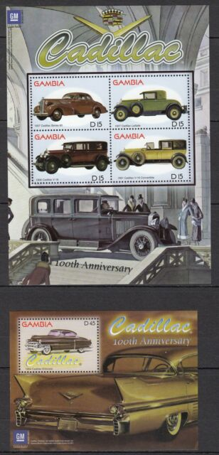 H91) Cars-Voitures 50th ANNIVERSARY CABILLAC 2 Blocs GAMBIA Timbres Neufs-MNH