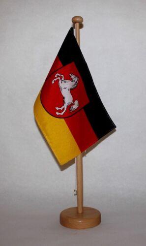 Niedersachsen Tischflagge 15x25 cm in Profiqualität mit 42 cm Massivholz Ständer