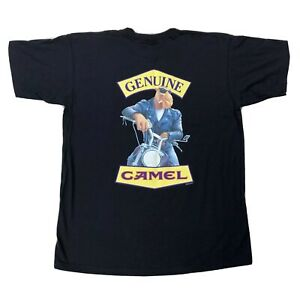 Vtg-Joe-Camel-Motorcycle-Genuine-Pocket-Shirt-XL-Double-Sided-Short-Sleeve-Tee