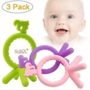 (3 Color Packs) Silicone Baby Teether Teething Ring Toys with Squirrel Design