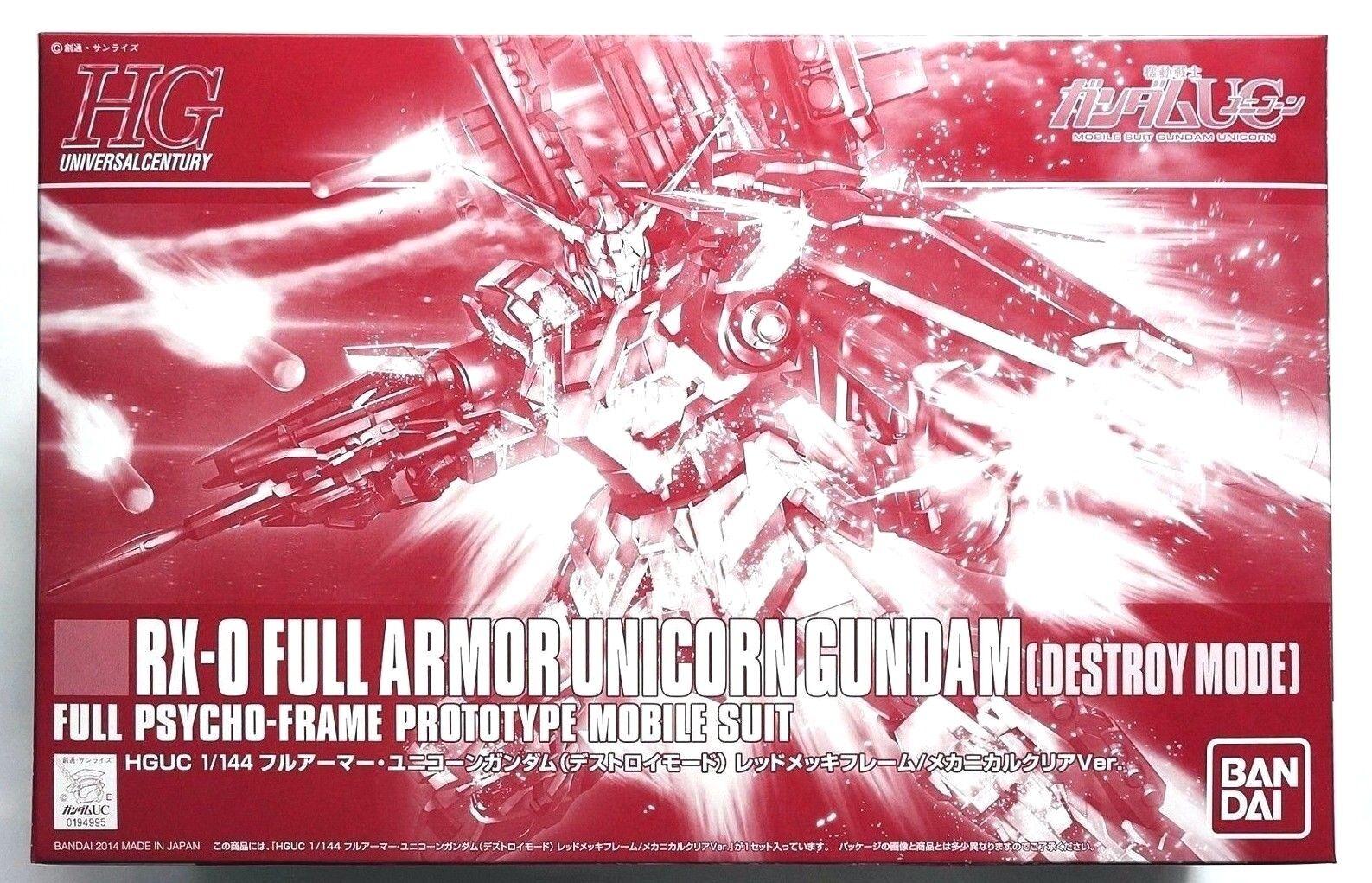 BANDAI HGUC 1  144 Full Armor Unicorn Gundam röd flamma klar än EXPO begränsad kit