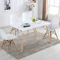 Rectangle White Dining Table And 4 White Dining Chairs Retro Dsw Eiffel Style
