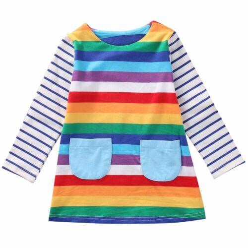 New Baby Kids Girls Striped Casual Pocket Clothe Rainbow Long Sleeve Cute Dress