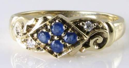 ENGLISH 9K 9CT gold ART DECO INS SAPPHIRE & DIAMOND RING FREE RESIZE