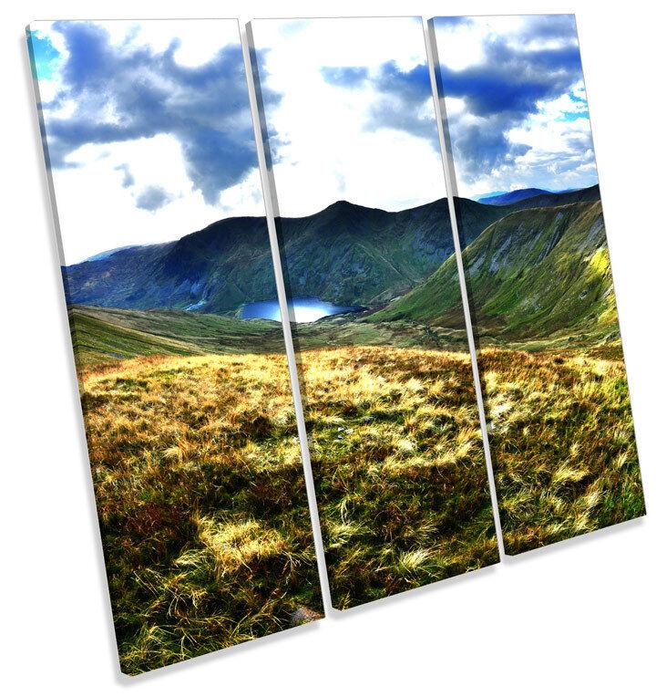 Kentmere Lake District Landscape TREBLE CANVAS WALL ART Square Print Picture