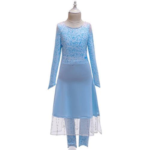 Kids Girls Frozen 2  Princess Elsa Costume Blue  coat Cosplay party holiday dres