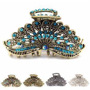 Woman-Large-elegant-metal-Peacock-tail-rhinestones-crystal-hair-claw-Clip-pin