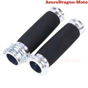 1-034-Handlebar-CNC-Rubber-Hand-Grips-For-Harley-Touring-Models-Softail-Chrome-AU