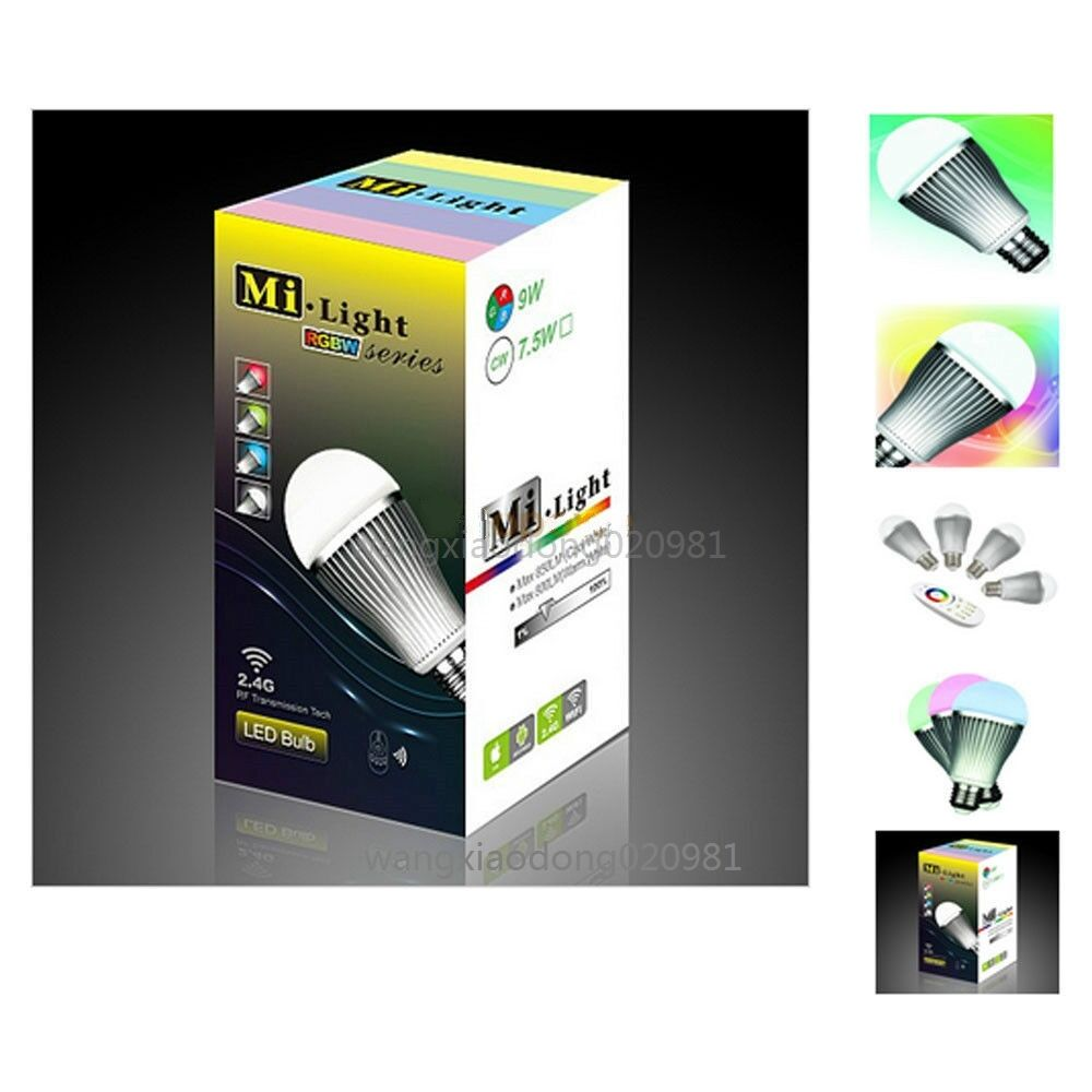 2.4G MiLight E27 9W RGBW RGB + blanco LED Light WIFI Bulb Smart Lamp 85265V