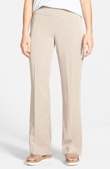 SZ S Eileen Fisher Limestone Lightweight Tencel Twill Straight Trousers Pants