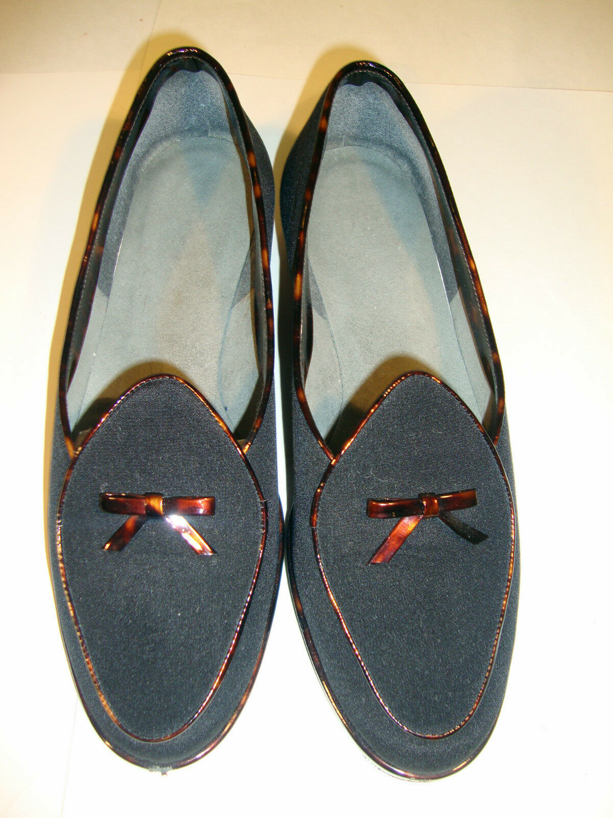 Stuart Weitzman nero Wood Patent donna Loafers scarpe Dimensione 37.5 Bow Spain