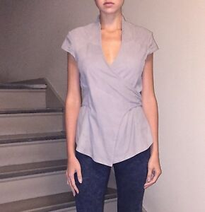 IMPROVD-Genuine-Leather-Ice-Gray-Suede-Top-Blouse-New-Sz-M-Designer