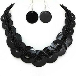 Womens-Necklace-Earrings-Black-Circle-Shell-22-034-25-034-L-Seed-Bead-Jewelry-Set