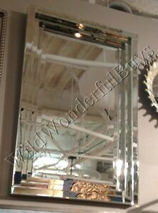 Frameless Stepped Wall Mirror Beveled Silver Parisian