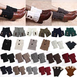 839e444631f Image is loading Womens-Ladies-Crochet-Knitted-Trim-Leg-Warmers-Cuffs-