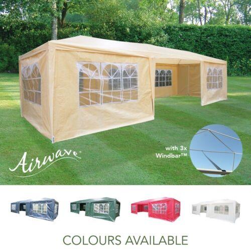 AirWave 9m x 3m Party Tent Gazebo 3 FREE WINDBARS Water Resistant 8 Sides