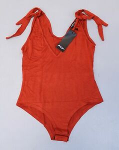 Nasty-Gal-Women-039-s-It-Must-V-Love-Plunging-Bodysuit-SC4-Rust-Size-US-6-UK-10-NWT