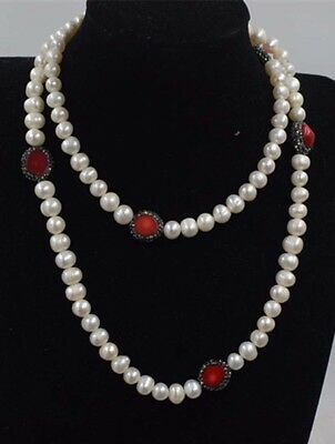 """WHITE FRESHWATER PEARL round 8-9mm necklace 32/"""" wholesale beads nature"""