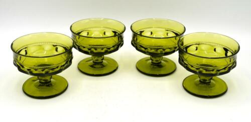 Kings Crown Thumbprint Set of 4 Vintage Indiana Green Glass Sherbet