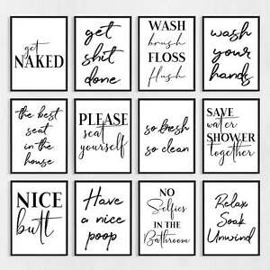 Details About Bathroom Wall Art Prints Pictures Decor Funny
