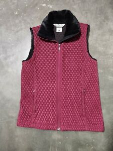 Columbia-Vest-Quilted-Women-039-s-Size-Medium-Maroon-amp-Black-Lining-Zip-Up-pockets